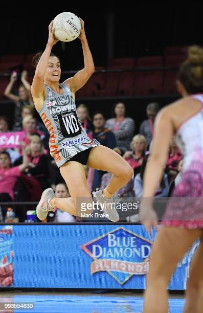 Ash Brazill of the Magpies takes a high catch during the round 10 Super Netball match between the Thunderbirds and the Magpies at Priceline Stadium...