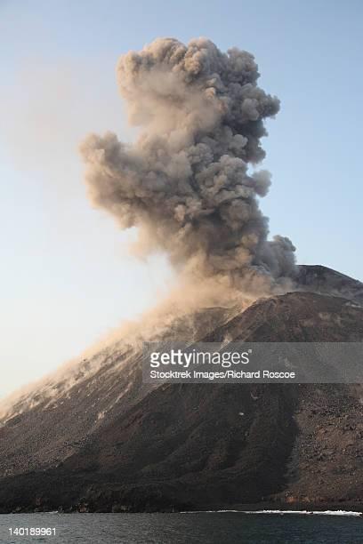 Ash cloud from vulcanian eruption of Anak Krakatau volcano, Sunda Strait, Java, Indonesia.