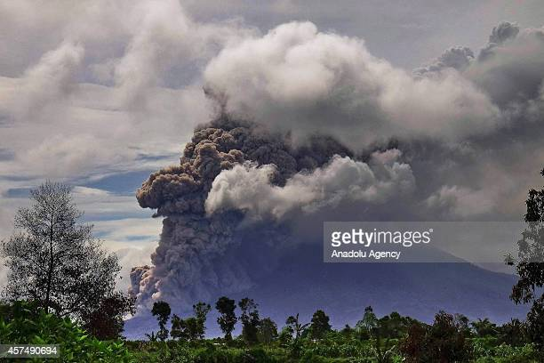Ash clouds rise from the crater of Mount Sinabung volcano following an eruption in Gajah village of Karo North Sumatra Indonesia on October 19 2014