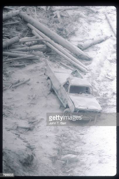 Ash covers a pickup truck May 23, 1980 in Washington State. On May 18 an earthquake caused a landslide on Mount St. Helens'' north face, taking off...