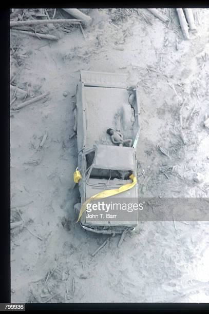 Ash covers a pickup truck May 23 1980 in Washington State On May 18 an earthquake caused a landslide on Mount St Helens'' north face taking off the...