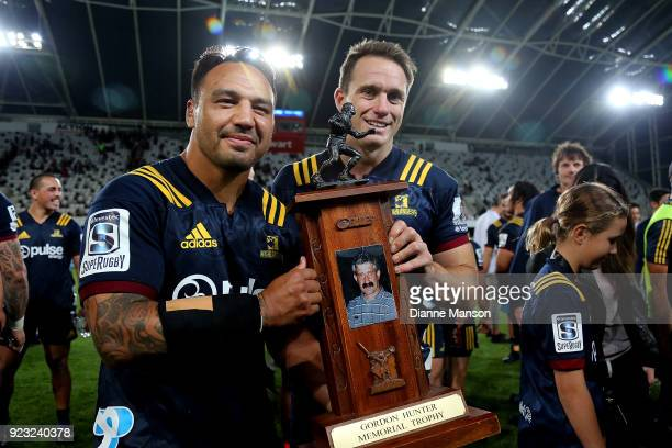 Ash Dixon and Ben Smith of the Highlanders with the Gordon Hunter Memorial Trophy after defeating the Blues in the round two Super Rugby match...