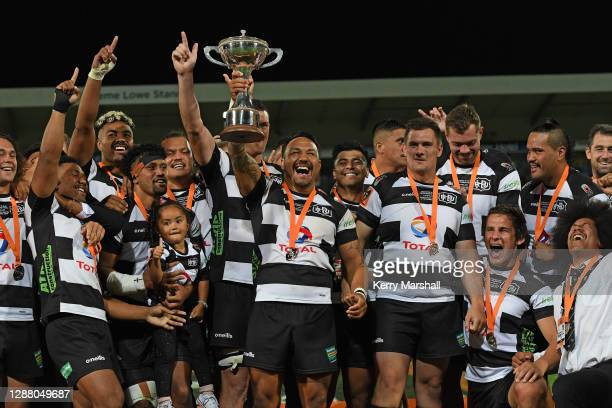 Ash Dixon and Hawke's Bay players celebrate following the Mitre 10 Cup round 12 Finals match between Hawke's Bay and Northland at McLean Park on...