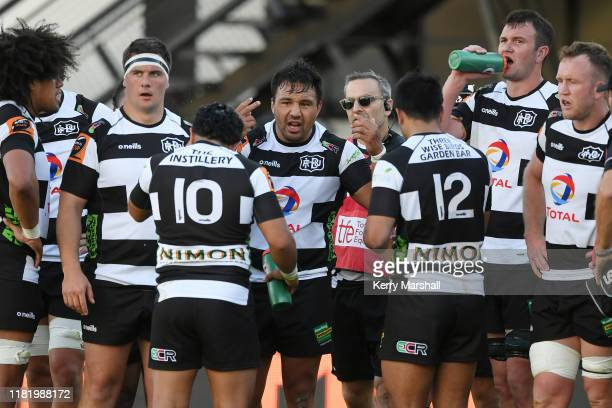 Ash Dixon of Hawke's Bay talks to players in extra time during the Mitre 10 Cup Championship Semi Finals match between Hawkes Bay and Otago at McLean...