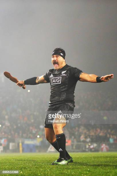 Ash Dixon of the Maori All Blacks performs the haka during the match between the New Zealand Maori and the British Irish Lions at Rotorua...