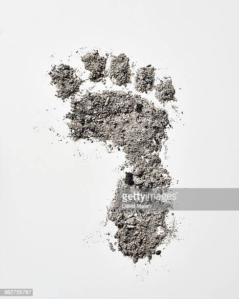 Ash footprint on a white surface