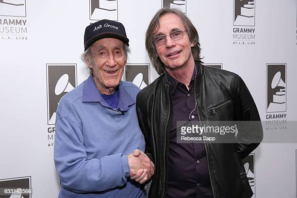 Ash Grove founder Ed Pearl and singer/songwriter Jackson Browne attend A Celebration of The Ash Grove with Ed Pearl and Special Guests at The GRAMMY...