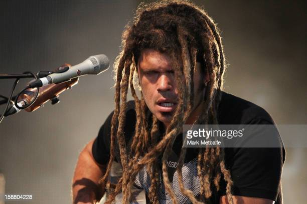 Ash Grunwald performs live on stage at The Falls Music and Arts Festival on December 30 2012 in Lorne Australia