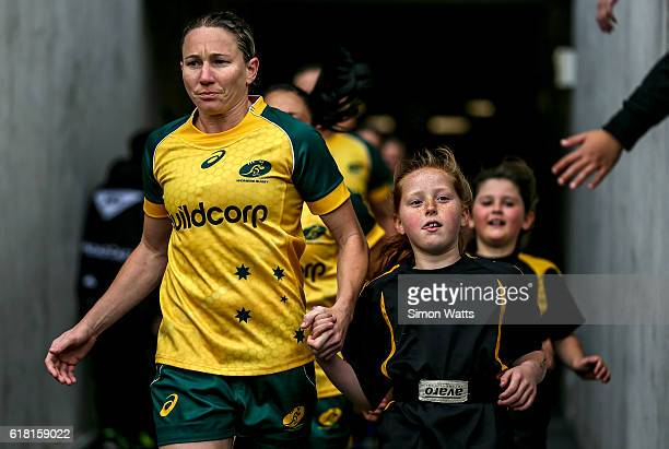 Ash Hewson leads the Wallaroos onto the field during the International Test match between the New Zealand Black Ferns and Australia Wallaroos at...