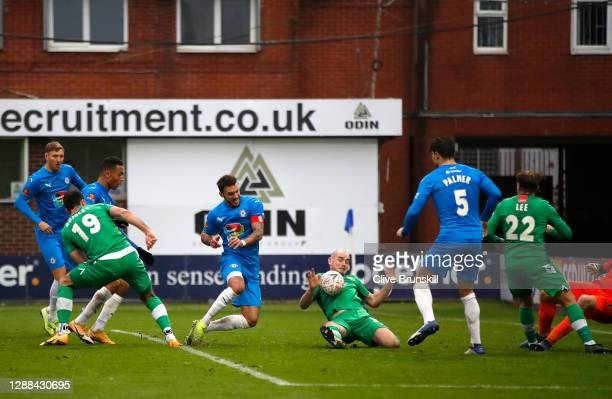 Ash Palmer of Stockport County scores their sides second goal during the Emirates FA Cup Second Round match between Stockport County and Yeovil Town...