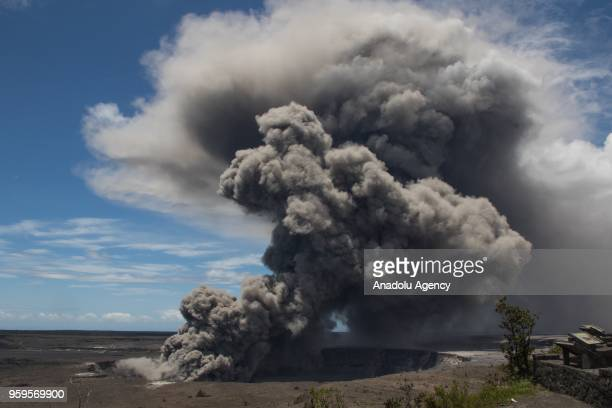 Ash plume rises following a massive volcano eruption on Kilauea volcano in Hawaii United States on May 15 2018 Lava is spewing more than 60 metres...