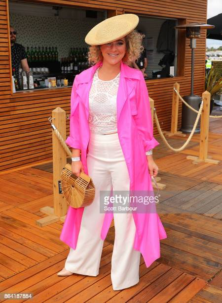 Ash Pollard attends Caulfield Cup Day at Caulfield Racecourse on October 21 2017 in Melbourne Australia