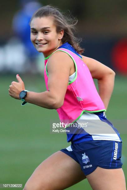 Ash Riddell is seen during a North Melbourne Kangaroos AFLW training session at Arden Street Ground on November 22 2018 in Melbourne Australia