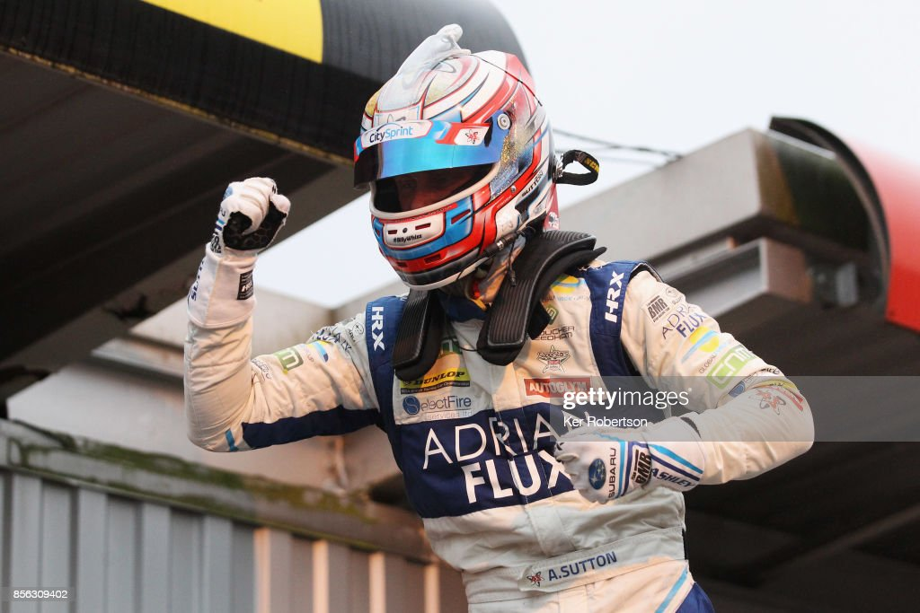 Ash Sutton of Adrian Flux Subaru Racing celebrates winning this years British Touring Car Championship after the final race at Brands Hatch on October 1, 2017 in Longfield, England.