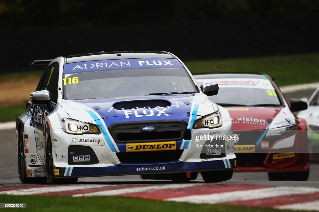 Ash Sutton of Adrian Flux Subaru Racing drives during race two during the British Touring Car Championship finale at Brands Hatch on October 1, 2017 in Longfield, England.