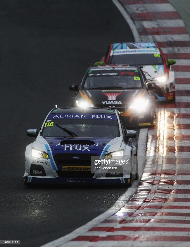 Ash Sutton of Adrian Flux Subaru Racing drives on his way to winning this years British Touring Car Championship after the final race at Brands Hatch on October 1, 2017 in Longfield, England.