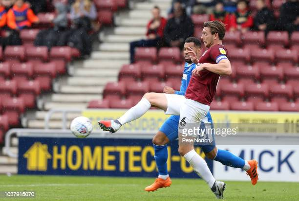 Ash Taylor of Northampton Town during the Sky Bet League Two match between Northampton Town and Notts County at PTS Academy Stadium on September 22...