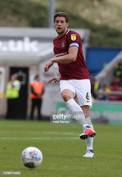 Ash Taylor of Northampton Town in action during the Sky Bet League Two match between Northampton Town and Cheltenham Town at PTS Academy Stadium on...