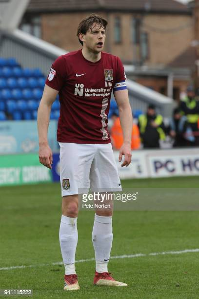 Ash Taylor of Northampton Town in action during the Sky Bet League One match between Peterborough United and Northampton Town at ABAX Stadium on...
