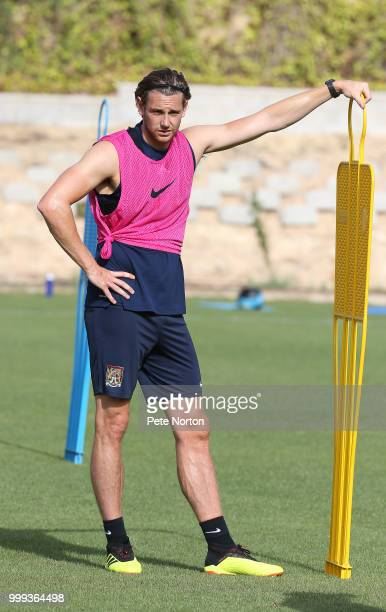 Ash Taylor of Northampton Town looks on during a training session at Lomas de Campoamor on July 14 2018 in Alicante Spain