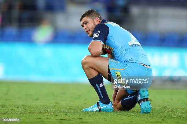 Ash Taylor of the Titans looks on during the round 18 NRL match between the Gold Coast Titans and the Sydney Roosters at Cbus Super Stadium on July...