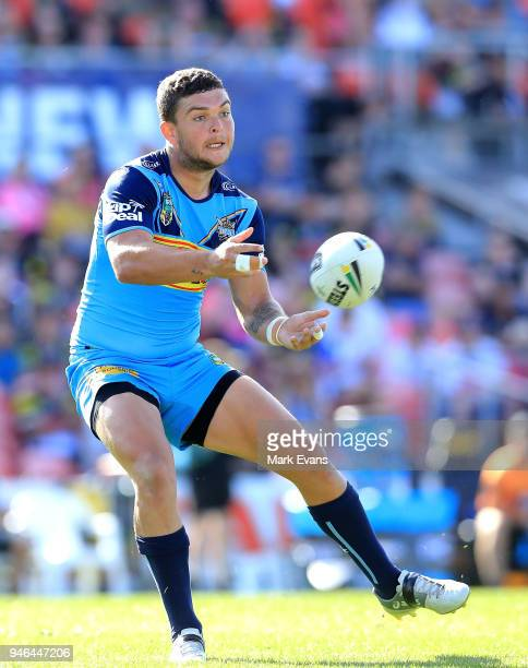Ash Taylor of the Titans passes the ball during the round six NRL match between the Penrith Panthers and the Gold Coast Titans on April 15 2018 in...