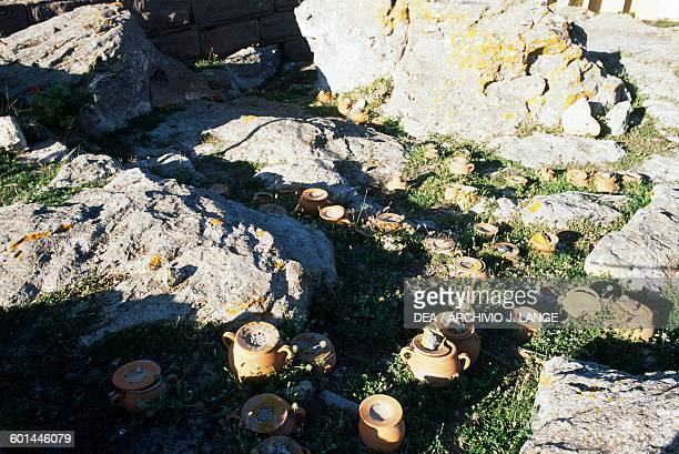 Ash urns Tophet of the ancient city of Sulci Sardinia Italy Punic civilisation