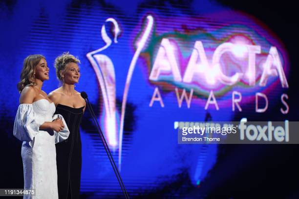 Asha Boswarva and Leeanna Walsman present the AACTA Award for Best Casting during the 2019 AACTA Awards Presented by Foxtel | Industry Luncheon at...