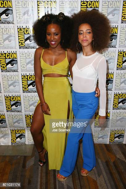 Asha Bromfield and Hayley Law arrive at the 'Riverdale' press line at ComicCon International 2017 on July 22 2017 in San Diego California