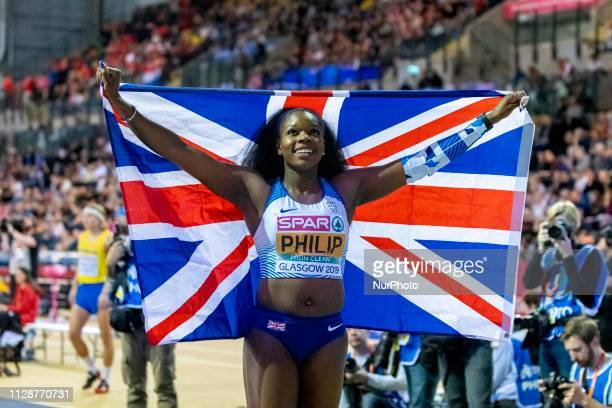 Asha GBR competing in the 60m Women Final event during day TWO of the European Athletics Indoor Championships 2019 at Emirates Arena in Glasgow...