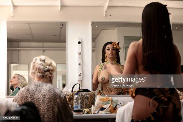 Asha Jones of Switzerland prepares her costume before performing at the World Burlesque Games 2017 on November 4 2017 in London England The World...