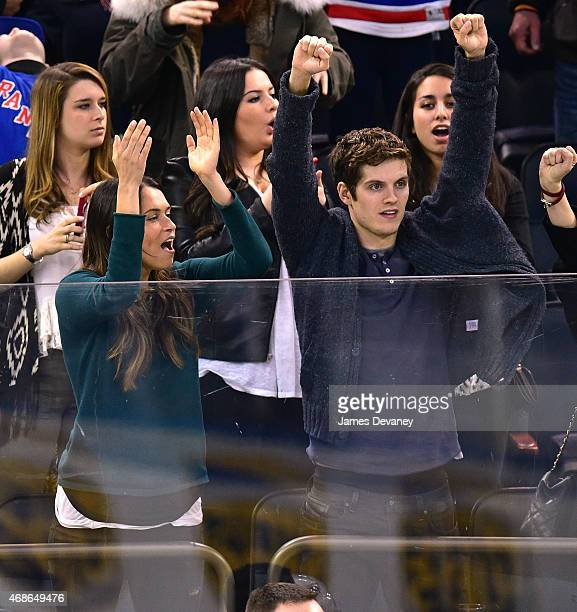 Asha Leo and Daniel Sharman attend New Jersey Devils vs New York Rangers game at Madison Square Garden on April 4 2015 in New York City