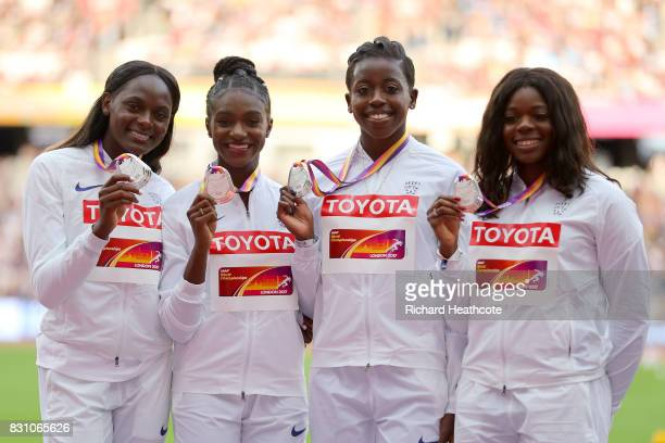 Asha Philip Desiree Henry Dina AsherSmith and Daryll Neita of Great Britain silver pose with their medals for the Women's 4x100 Metres Relay during...