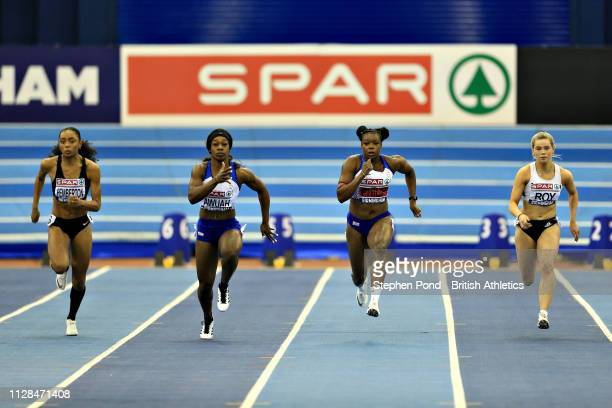 Asha Philip of Great Britain and Kristal Awuah compete in the second semifinal of the Womens 60m during Day One of the SPAR British Athletics Indoor...
