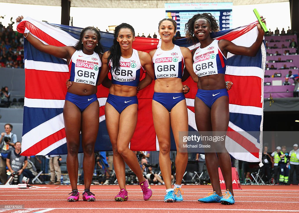 Asha Philip of Great Britain and Northern Ireland, Ashleigh Nelson of Great Britain and Northern Ireland, Anyika Onuora of Great Britain and Northern Ireland and Desiree Henry of Great Britain and Northern Ireland pose with a Union Jack after winning gold in the Women's 4x100 metres relay final during day six of the 22nd European Athletics Championships at Stadium Letzigrund on August 17, 2014 in Zurich, Switzerland.