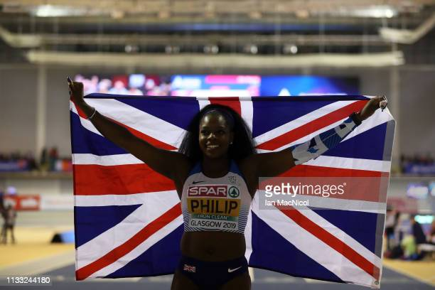 Asha Philip of Great Britain poses after finishing 3rd in the Womens 60m Final during the European Athletics Indoor Championships Day Two at the...