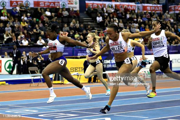 Asha Philip of Great Britain wins in the final of the Womens 60m during Day One of the SPAR British Athletics Indoor Championships at Arena...