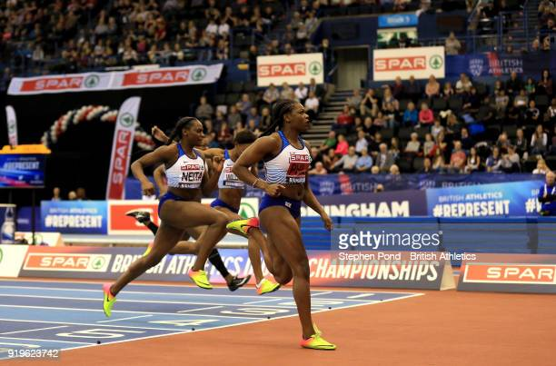 Asha Philip of Great Britain wins the womens 60m final during day one of the SPAR British Athletics Indoor Championships at Arena Birmingham on...