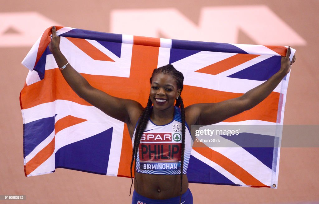 Asha Philip of Newham Essex Beagles celebrates as she wins the women's 60m final during the SPAR British Athletics Indoor Championships at Arena Birmingham on February 17, 2018 in Birmingham, England.