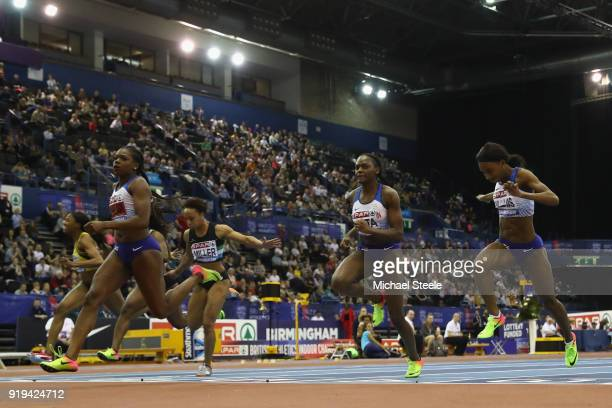 Asha Philip of Newham Essex Beagles wins the women's 60m final during day one of the SPAR British Athletics Indoor Championships at Arena Birmingham...