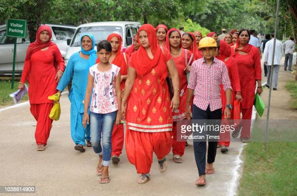 Piyush Goyal Minister of Railways and Coal in the Government of India addresses the Asha ANM and Anganwadi workers during the inauguration of...