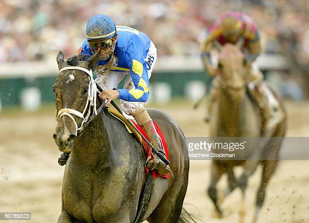 Ashado riden by John Velazquez crosses the finish line to win the 130th Kentucky Oaks April 30 2004 at Churchill Downs in Louisville Kentucky