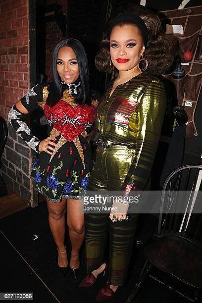 Ashanti and Andra Day backstage at 'The Hamilton Mixtape' Live Performance on December 1 2016 in New York City