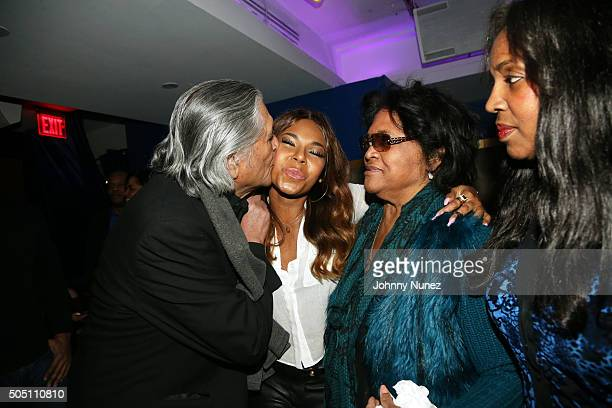 Ashanti and her mother Tina Douglas pose with Mr and Mrs Irving Domingo Lorenzo at the Add Venutures Music Official Launch Party at Stage 48 on...