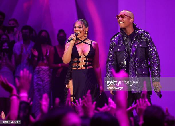 Ashanti and Ja Rule speak onstage during the 2021 MTV Video Music Awards at Barclays Center on September 12, 2021 in the Brooklyn borough of New York...