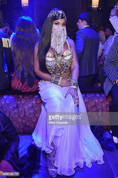 Ashanti attends Moto X presents Heidi Klum's 15th Annual Halloween Party sponsored by SVEDKA Vodka at TAO Downtown on October 31 2014 in New York City