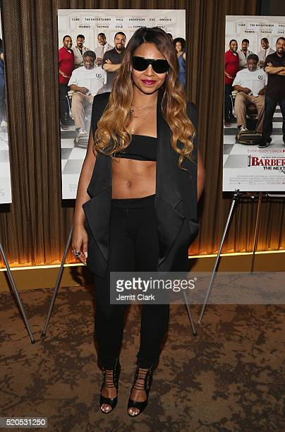 Ashanti attends the 'Barbershop The Next Cut' Screeing at HBO Screening Room on April 11 2016 in New York City