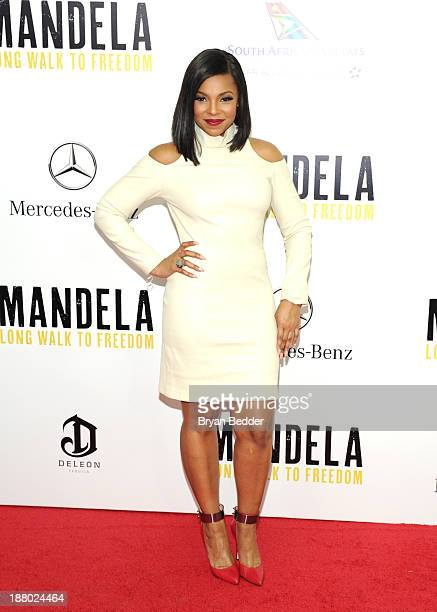 Ashanti attends the New York premiere of MANDELA: LONG WALK TO FREEDOM, hosted by TWC, Yucaipa Films and Videovision Entertainment, supported by...