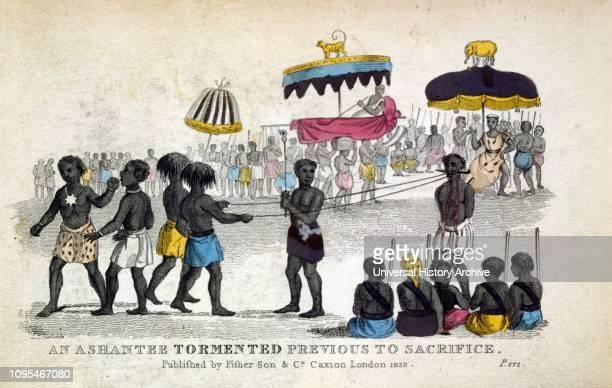 Ashanti Human sacrifice as a victim is taunted before execution. The Ashanti King looks on; Ghana ; Illustration 1837.
