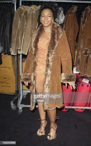 Ashanti in Wilson's Leather coat during 2002 Billboard Music Awards Backstage Creations Talent Retreat Show Day at MGM Grand Hotel in Las Vegas...